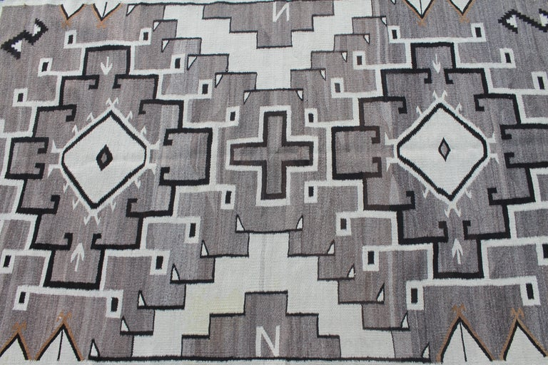 American Two Grey Hills Navajo Indian Weaving For Sale