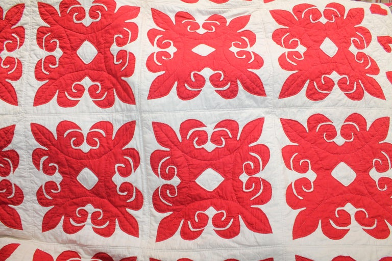 This fine early 19th century red & white applique quilt has a heart applique border throughout. The quilting is fine and very fine applique work. It was found in Pennsylvania.