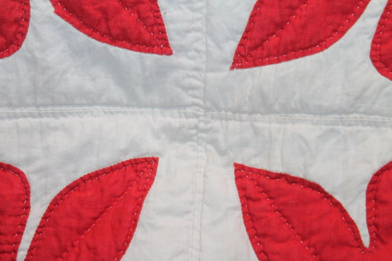American 19th Century Red & White Quilt with Hearts Suround For Sale