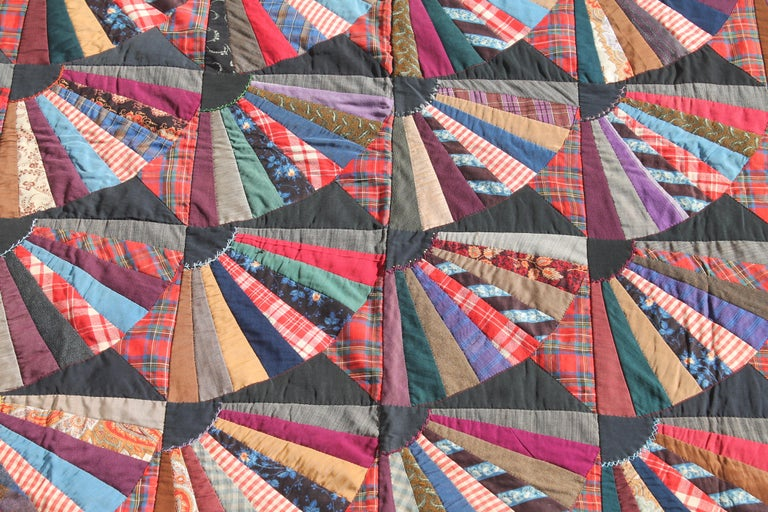 Adirondack 19th Century Crazy Fan Quilt For Sale