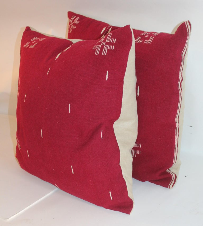 Adirondack Tex Coco Mexican Indian Weaving Pillows / Pair For Sale