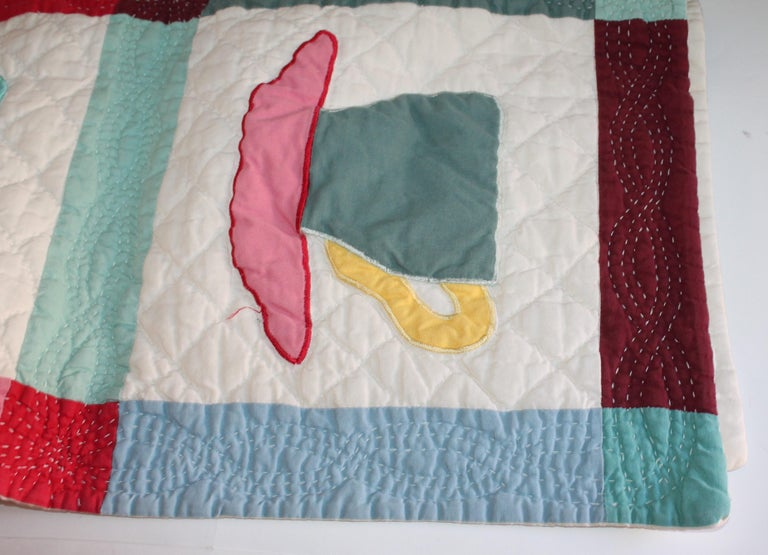 Antique Quilt, Midcentury Coffee Cups Applique Quilt In Good Condition For Sale In Los Angeles, CA