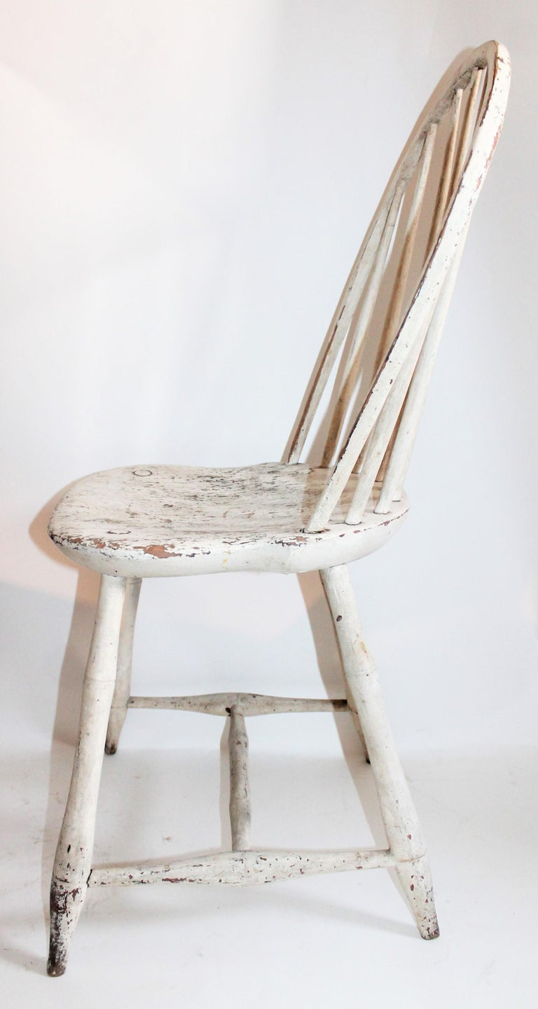 Country Antique Windsor Chair in Original White Painted Surface For Sale
