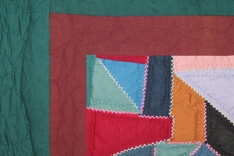 Country Antique Quilt, Amish Contained Crazy Crib Quilt Mounted For Sale
