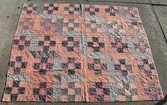 Antique Amish Quilt -Nine Patch Mifflin County , Pennsylvania