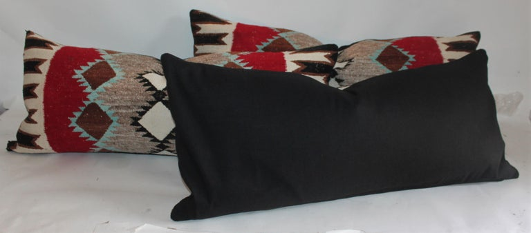 Adirondack Navajo Indian Weaving Bolster Pillows For Sale