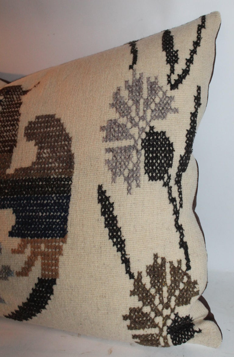 20th Century Mexican Indian Weaving & Embroidered Big Pillows For Sale