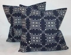 19Thc Hand Woven Coverlet Pillows /Pair