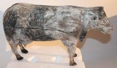 Folk Art Hand Carved Cow