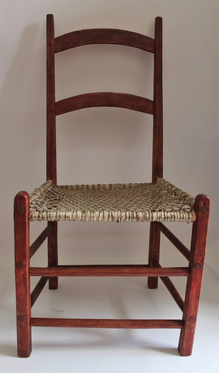 19th Century Folky Canadian  Ladder Back Chairs/Set of Four In Good Condition For Sale In Los Angeles, CA