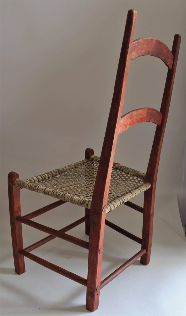 Wood 19th Century Folky Canadian  Ladder Back Chairs/Set of Four For Sale