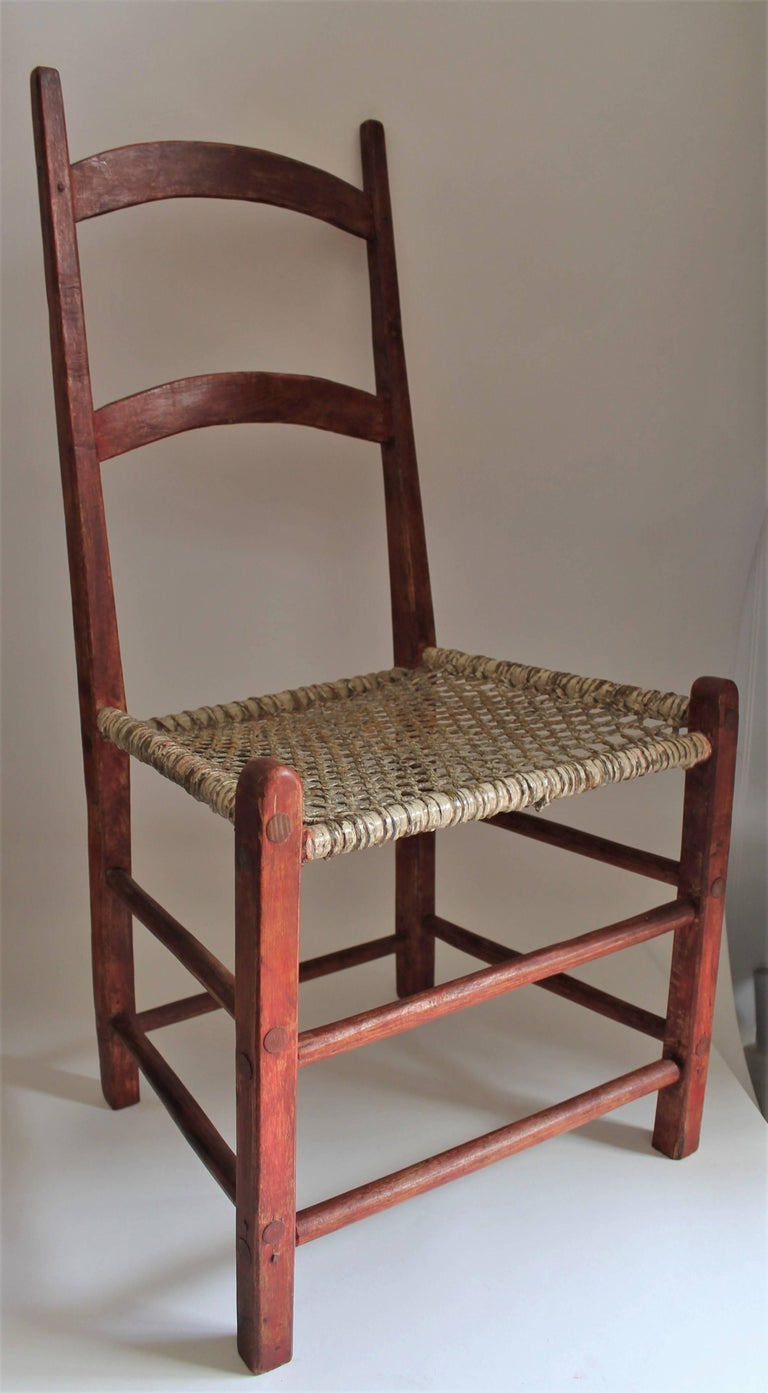 American 19th Century Folky Canadian  Ladder Back Chairs/Set of Four For Sale