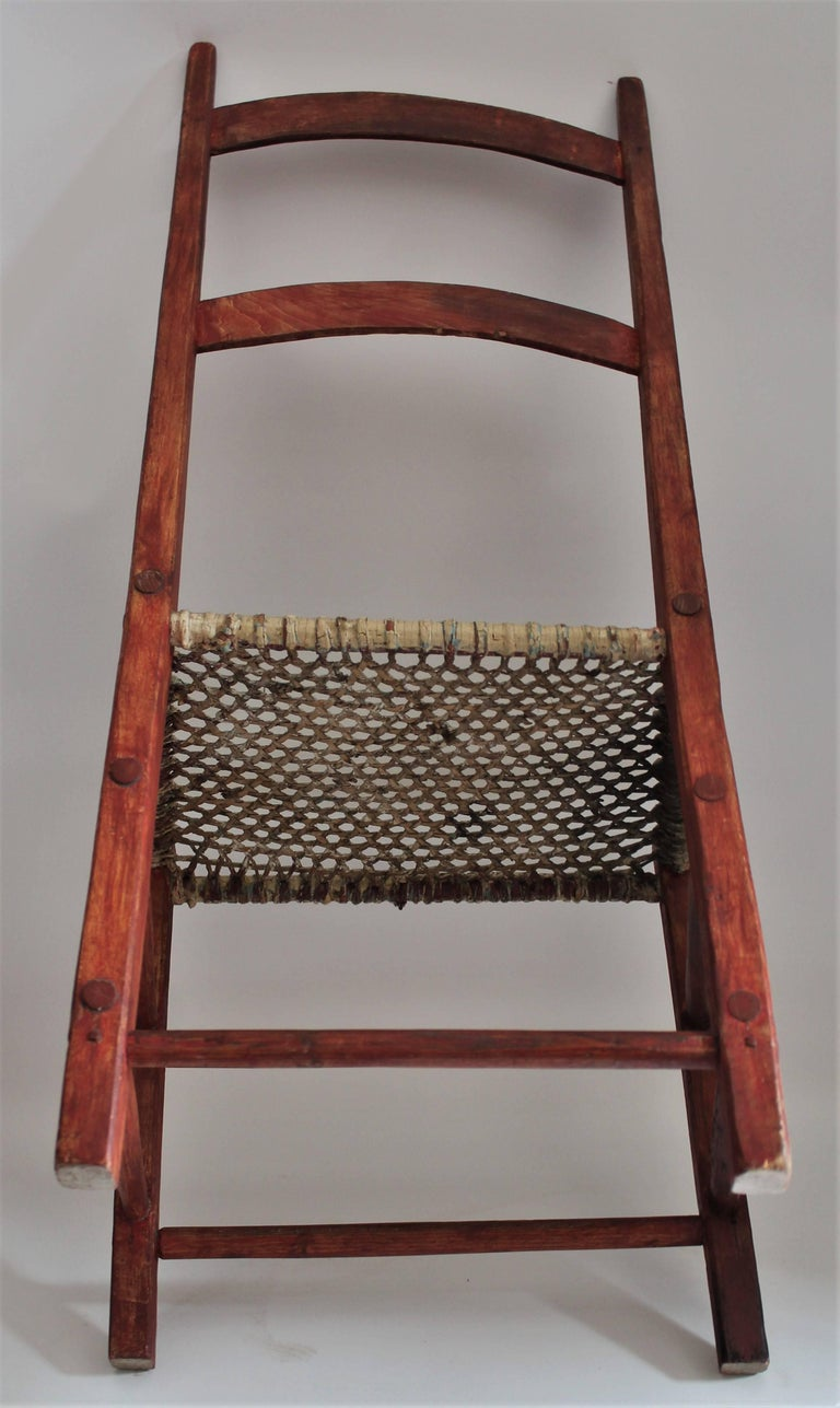 19th Century Folky Canadian  Ladder Back Chairs/Set of Four For Sale 7