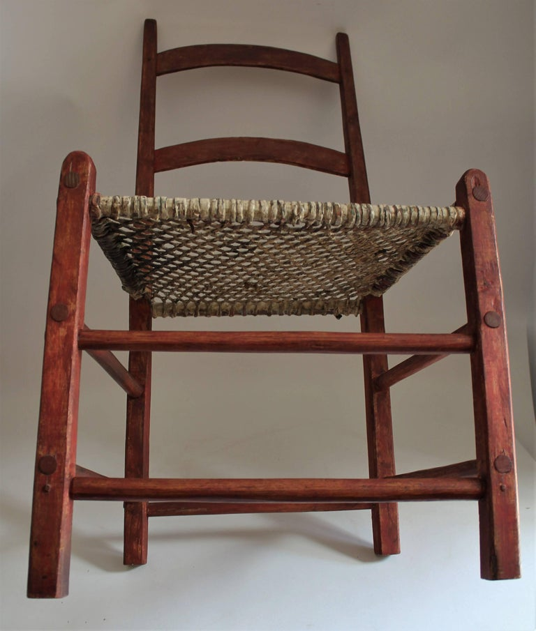 19th Century Folky Canadian  Ladder Back Chairs/Set of Four For Sale 1