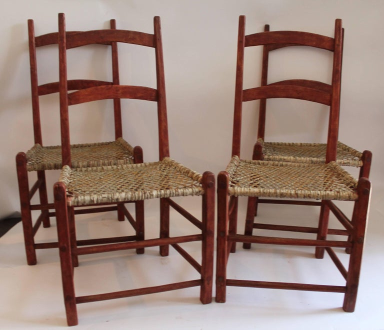 Other 19th Century Folky Canadian  Ladder Back Chairs/Set of Four For Sale