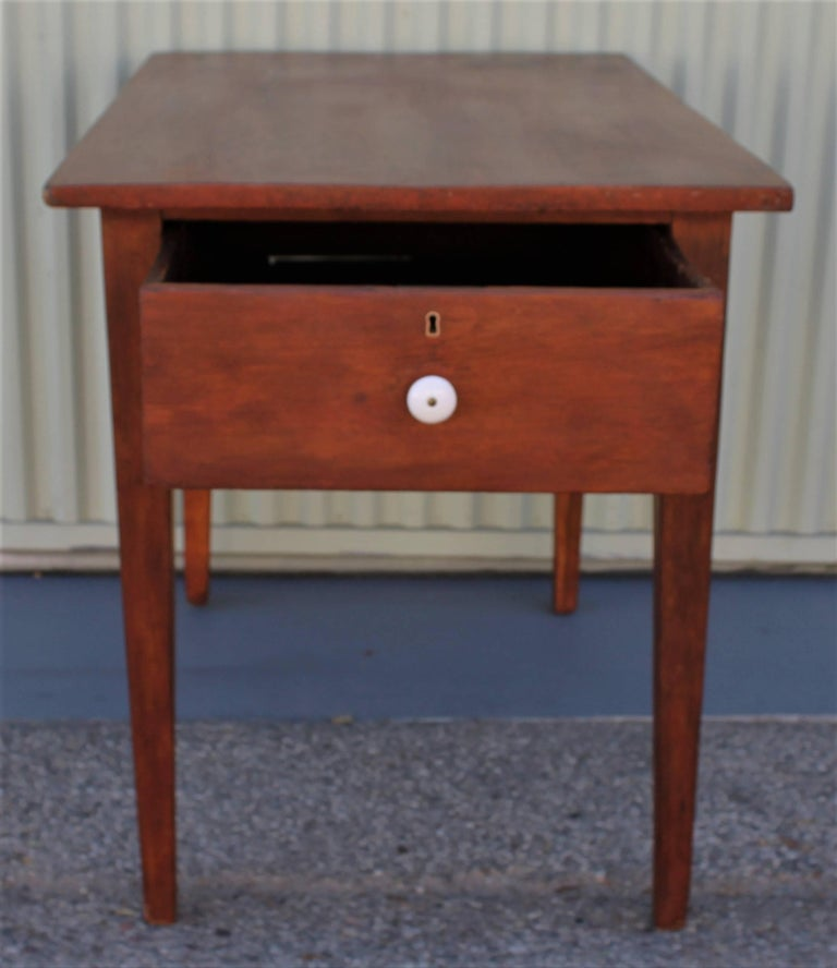 Hand-Crafted 19th Century Work Table with Original Red Painted Wash For Sale