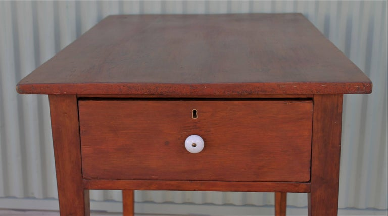 19th Century Work Table with Original Red Painted Wash In Excellent Condition For Sale In Los Angeles, CA