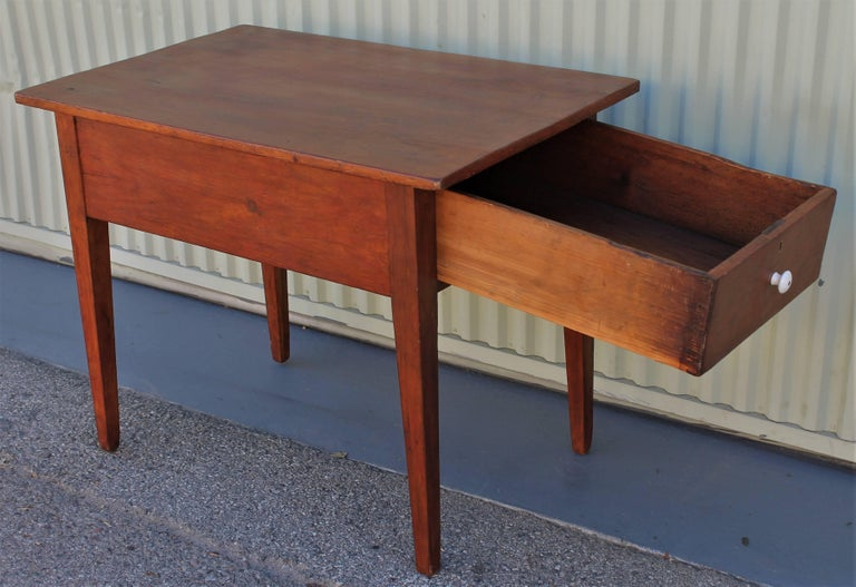 Pine 19th Century Work Table with Original Red Painted Wash For Sale