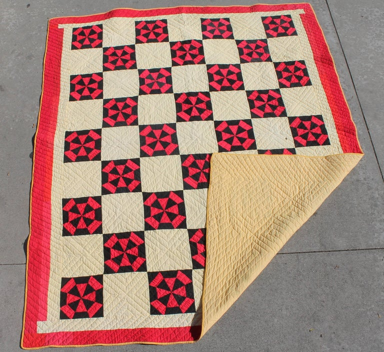 Hand-Crafted Amish Quilt in Pinwheel Pattern For Sale