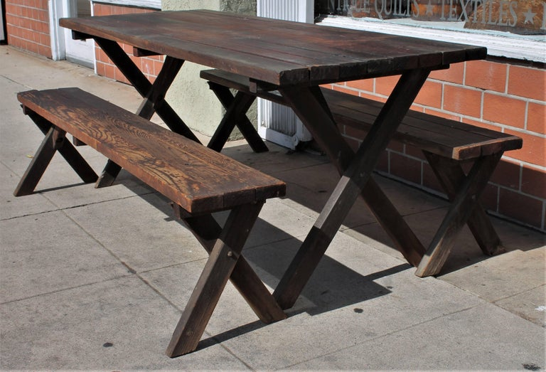 Adirondack Rustic Picnic Table and Matching Benches For Sale