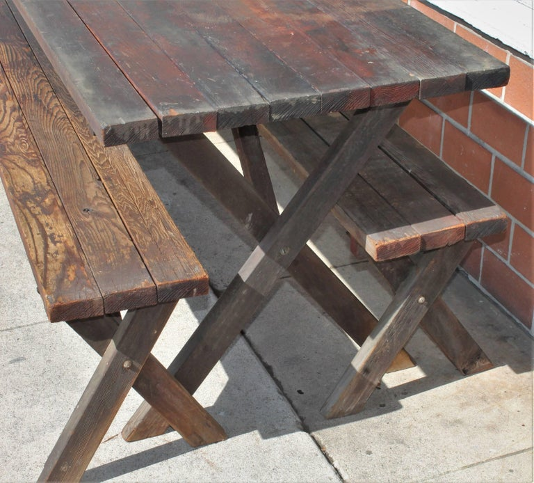 Rustic Picnic Table and Matching Benches For Sale 2