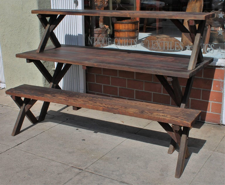 Hand-Crafted Rustic Picnic Table and Matching Benches For Sale