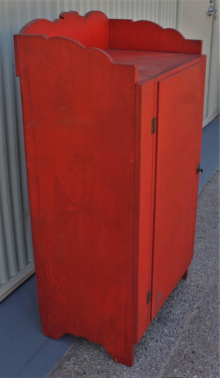 Other 19th Century Original Red Painted Cupboard For Sale
