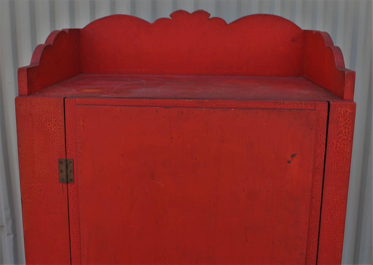 19th Century Original Red Painted Cupboard For Sale 6
