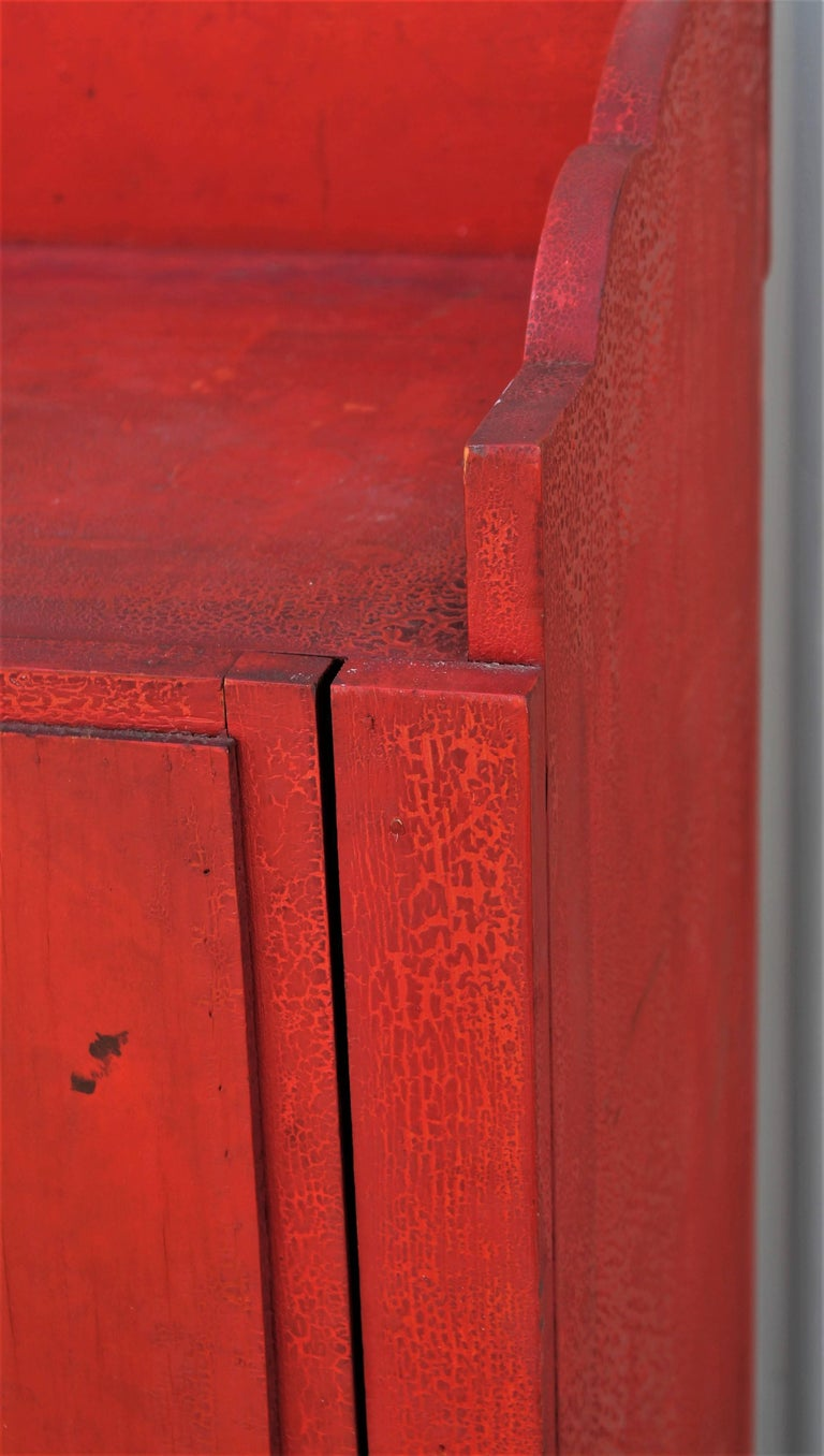 19th Century Original Red Painted Cupboard For Sale 8
