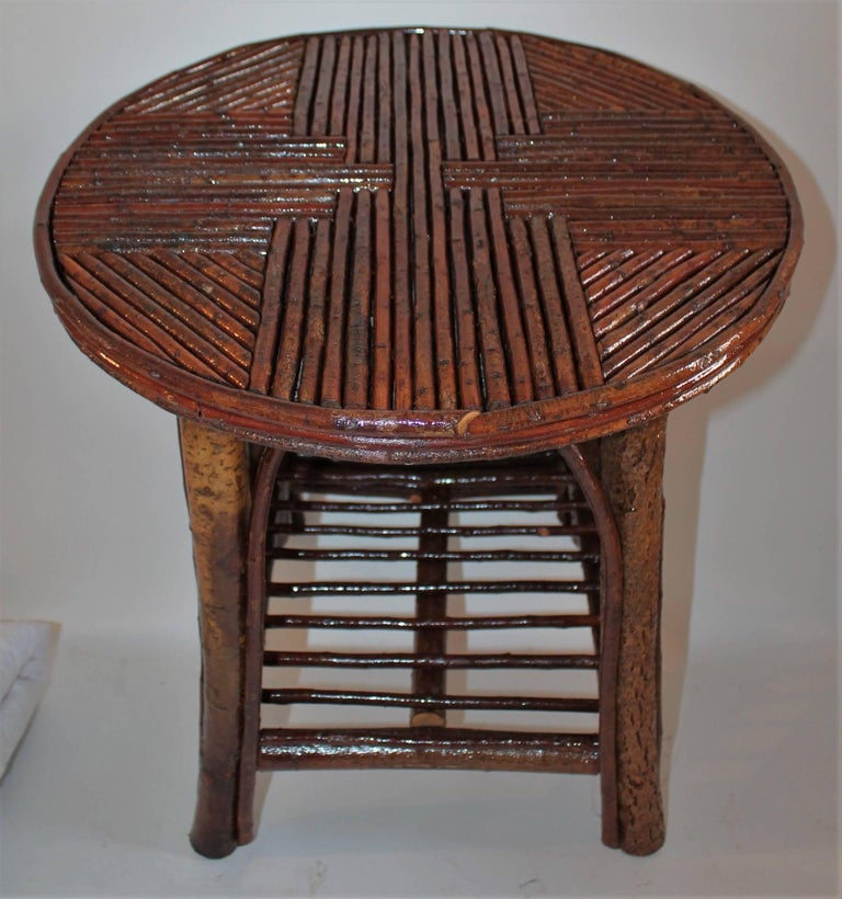Hand-Crafted Hickory & Birch Bark Adirondack Side Table For Sale
