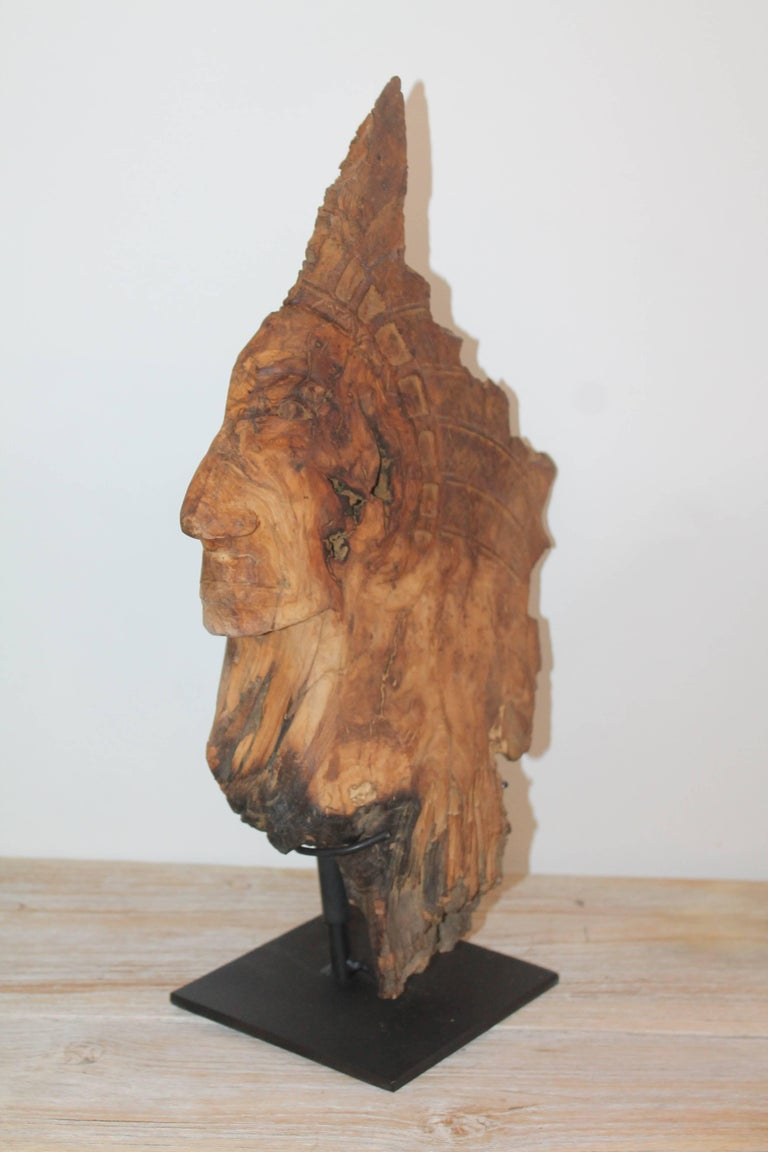 Adirondack Hand-Carved Indian Head of Wood For Sale