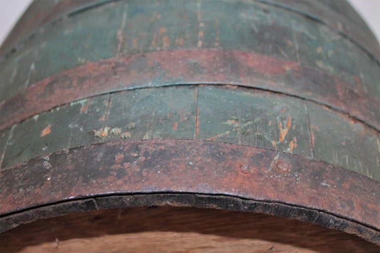 Bentwood 19th Century Original Green Painted Farm Barrel with Iron Handles For Sale