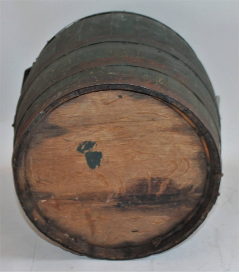 19th Century Original Green Painted Farm Barrel with Iron Handles For Sale 4