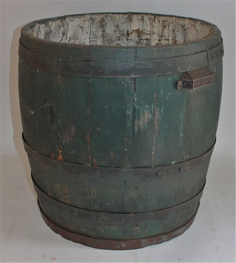 Other 19th Century Original Green Painted Farm Barrel with Iron Handles For Sale