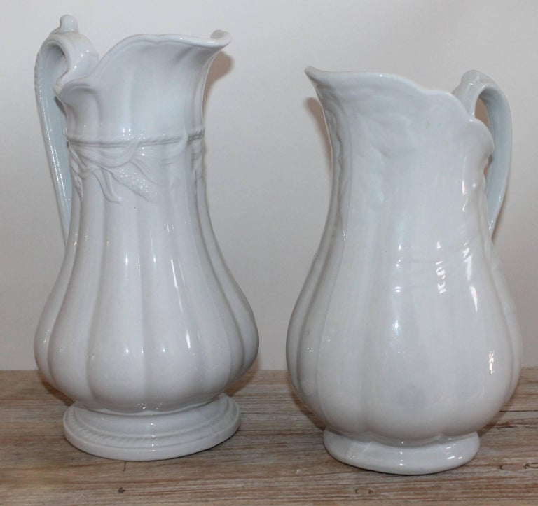 Glazed 19th Century Ironstone Wheat Water Pitchers For Sale