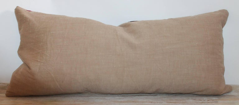20th Century Navajo Indian Weaving Geometric Bolster Pillow For Sale