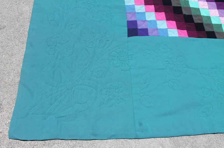 Hand-Crafted 20th Century Amish Sunshine and Shadow Quilt from Lancaster, Pennsylvania For Sale