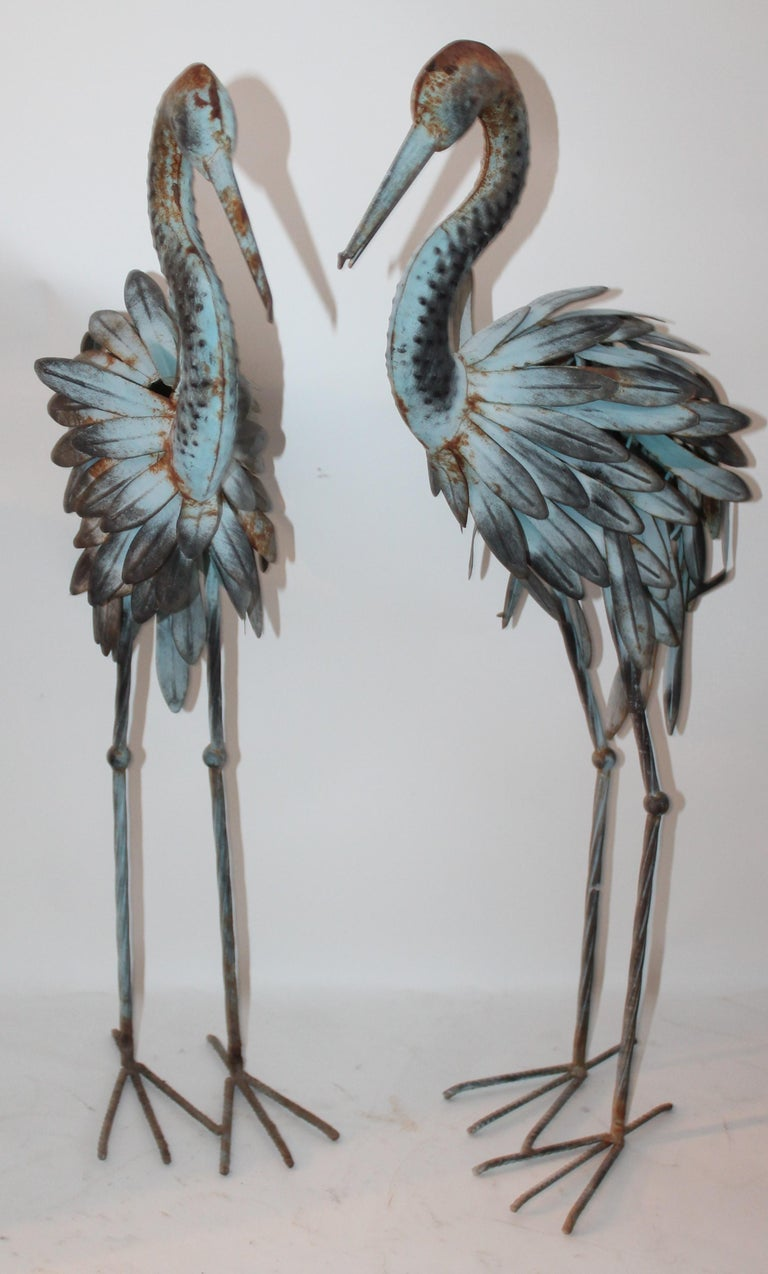 Country Pair of Blue Metal Flamingos in Original Blue Paint For Sale