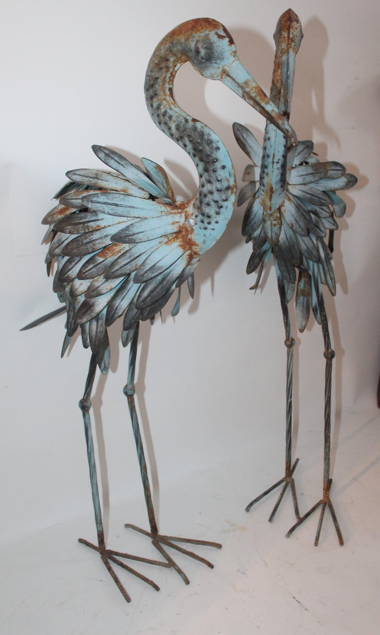 American Pair of Blue Metal Flamingos in Original Blue Paint For Sale