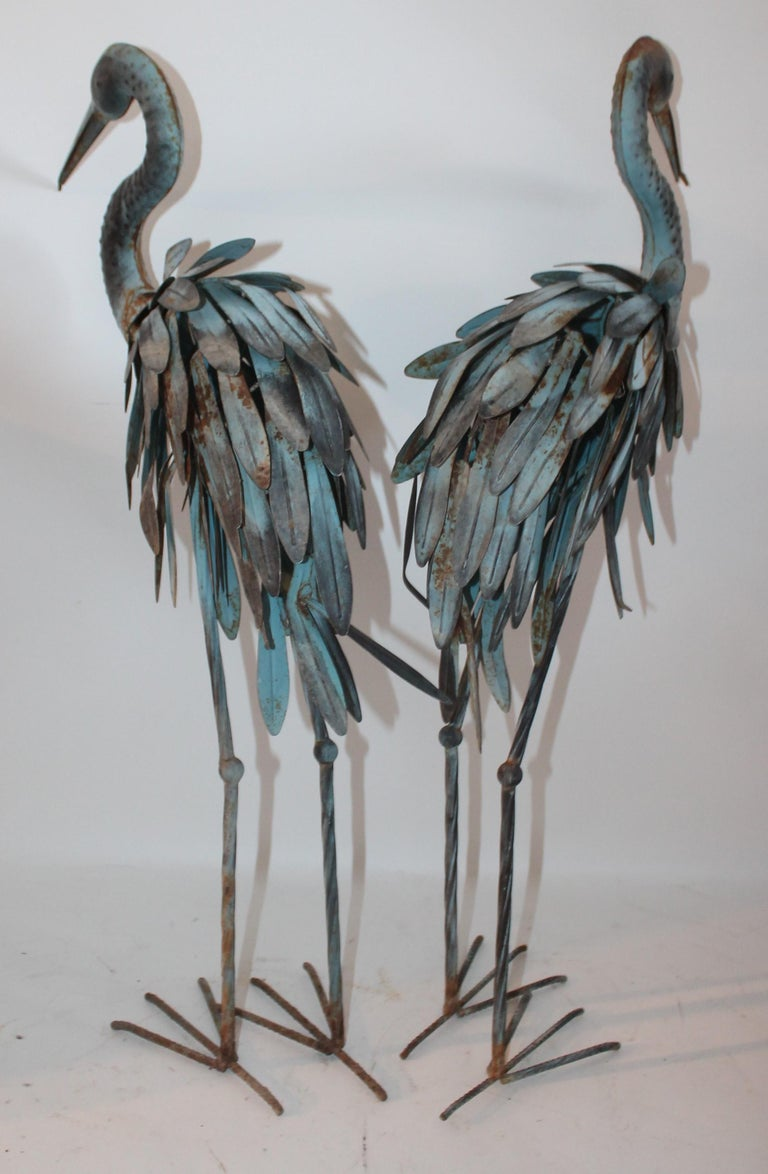 Pair of Blue Metal Flamingos in Original Blue Paint For Sale 3