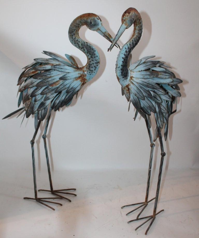 Pair of Blue Metal Flamingos in Original Blue Paint For Sale 5