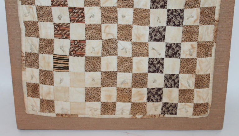 19th Century Postage Stamp Doll Quilt, Rectangular Mounted In Excellent Condition For Sale In Los Angeles, CA