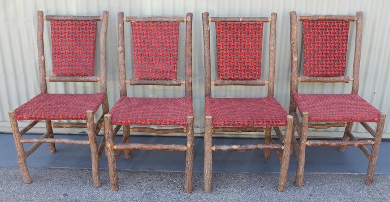 American Old Hickory Chairs Upholstered Seat and Backs or Set of Four For Sale