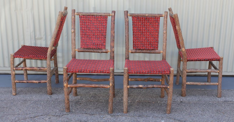 Adirondack Old Hickory Chairs Upholstered Seat and Backs or Set of Four For Sale