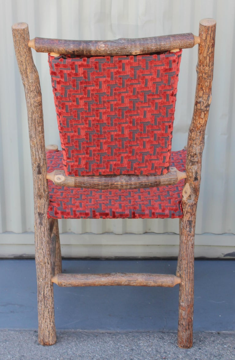 Old Hickory Chairs Upholstered Seat and Backs or Set of Four For Sale 1