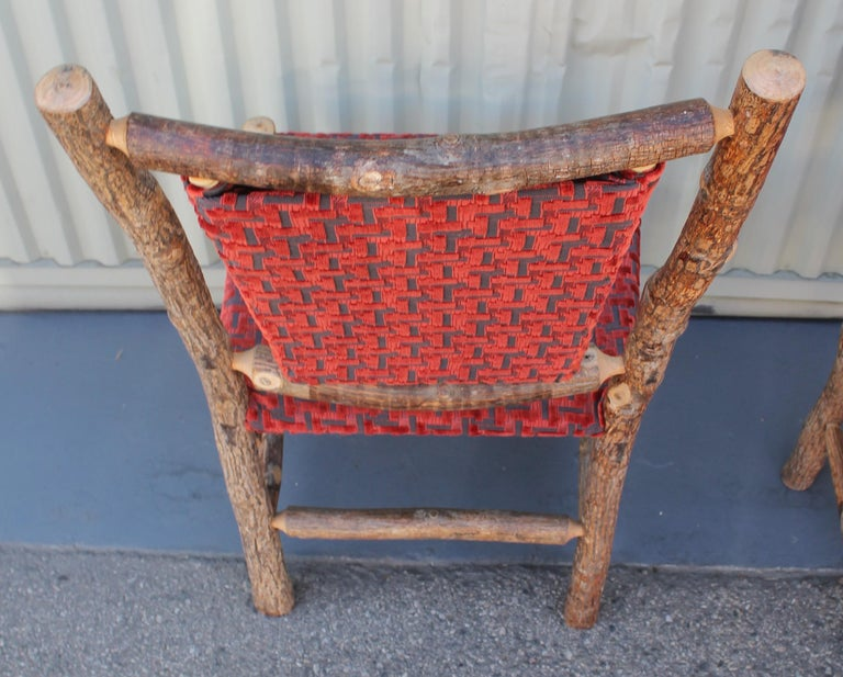 Old Hickory Chairs Upholstered Seat and Backs or Set of Four For Sale 2