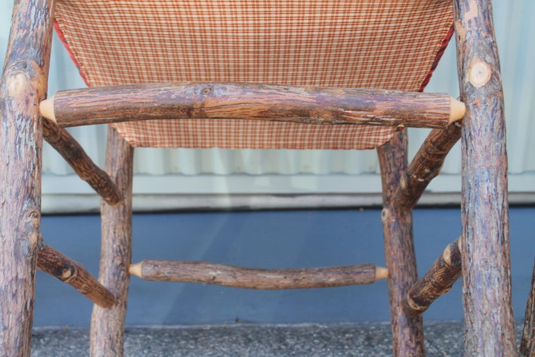 Old Hickory Chairs Upholstered Seat and Backs or Set of Four For Sale 7