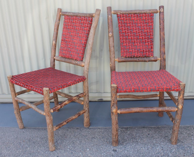 Old Hickory Chairs Upholstered Seat and Backs or Set of Four In Excellent Condition For Sale In Los Angeles, CA
