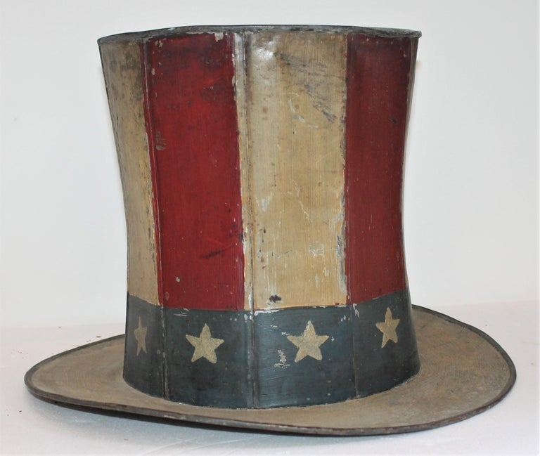 Country 19th Century Original Painted Tin Large Trade Sign / Hat For Sale