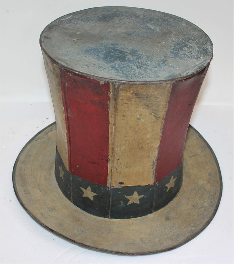 19th Century Original Painted Tin Large Trade Sign / Hat For Sale 2